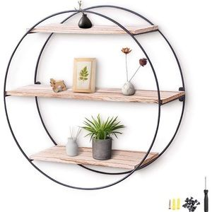 Round Wall Shelf Rustic Wood Floating Shelves